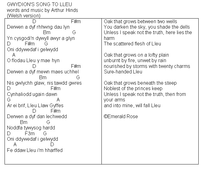 Emerald Rose Gwydions Song Chords